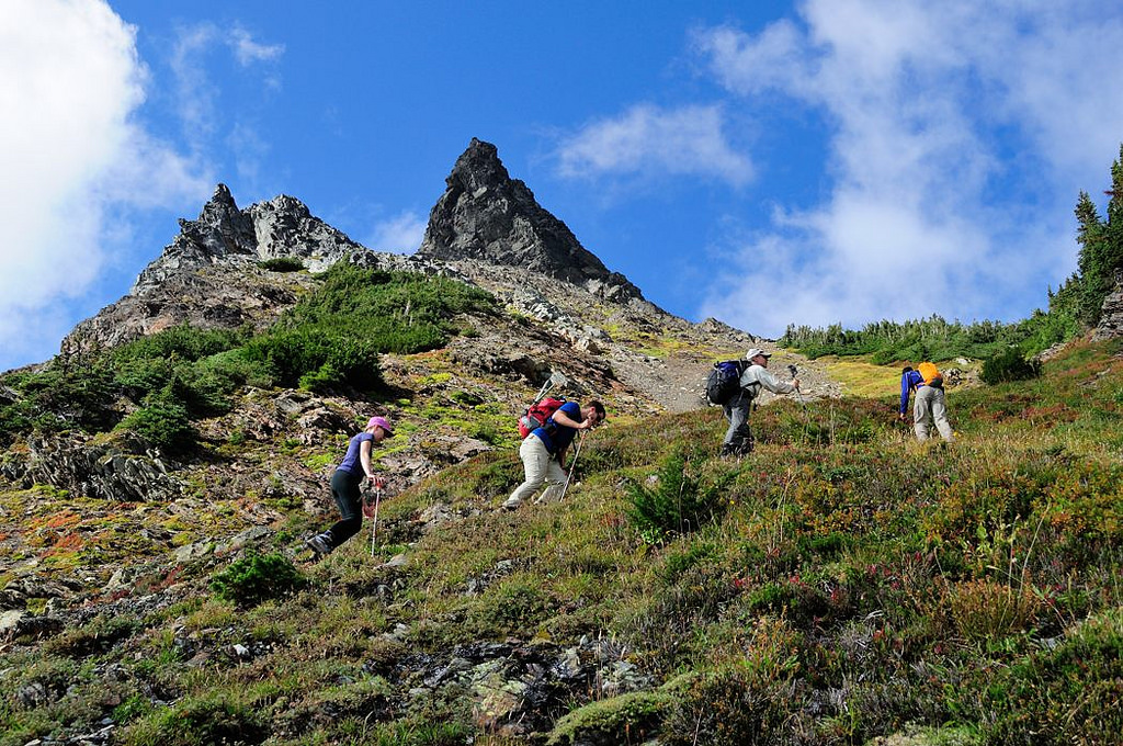Hikers on a steep slope