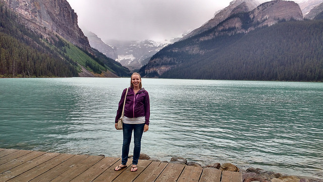 Dorothy on the shore at Lake Louise